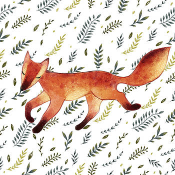 Watercolor Cute Running Fox With Green by Maria Sem