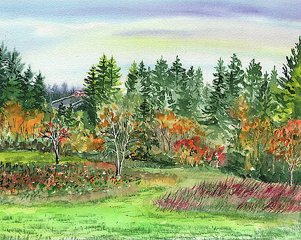 Watercolor Fall Impressionistic Landscape  by Irina Sztukowski