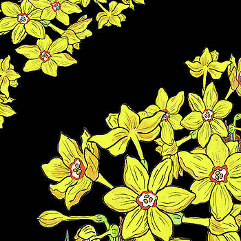 Watercolor Flower Miniature Yellow Daffodil by Irina Sztukowski