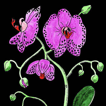 Watercolor Flower Moth Orchid  by Irina Sztukowski