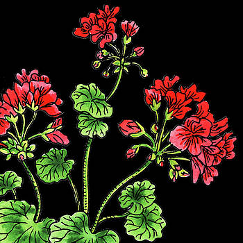 Watercolor Flower Red Geranium by Irina Sztukowski