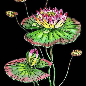 Watercolor Flower Waterlily by Irina Sztukowski