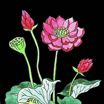 Watercolor Flowers Pink Lotus by Irina Sztukowski