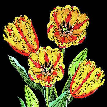 Watercolor Flowers Yellow Parrot Tulip by Irina Sztukowski