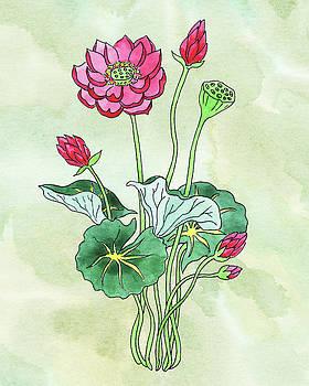 Watercolor Lotus Flower Botanical by Irina Sztukowski