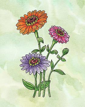Watercolor Orange Pink Purple Zinnia Flowers by Irina Sztukowski