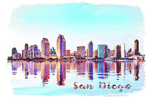 Watercolor painting of San Diego Skyline at sunset from Coronado by Steven Heap
