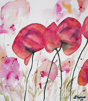 Watercolor - Poppy Portrait by Cascade Colors