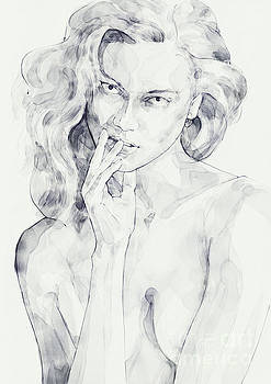 Dimitar Hristov - Watercolor portrait of a girl