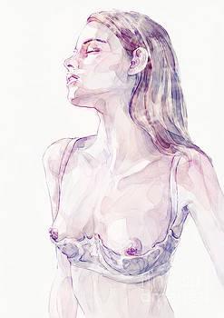 Dimitar Hristov - Watercolor Portrait of Young Woman