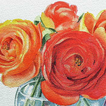 Watercolor Ranunculus Flowers Close Up  by Irina Sztukowski