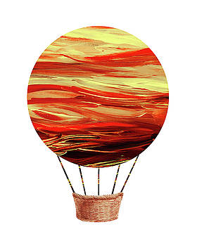 Watercolor Silhouette Hot Air Balloon VII by Irina Sztukowski