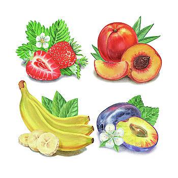 Watercolor Strawberry Peach Banana Plum  by Irina Sztukowski