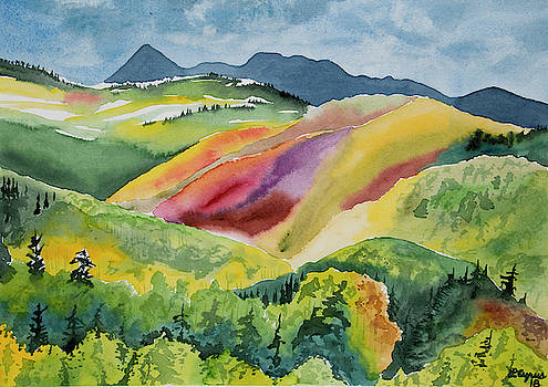 Watercolor - Wilson Mesa Landscape Impression by Cascade Colors