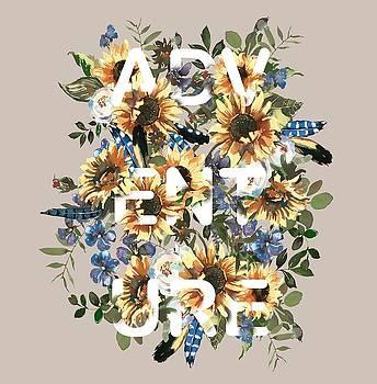 Watercolour Sunflowers Adventure typography by Georgeta Blanaru