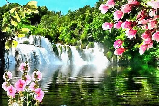 Waterfall Flowers by Harry Warrick