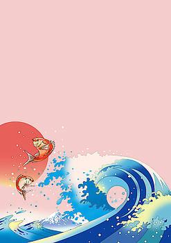 Waves and sunrise with the sea bream by Ryuji Kawano