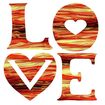 Irina Sztukowski - Waves Of Love Sign Watercolor Silhouette Letters Hearts
