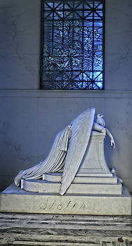 Weeping Angel with Stained Glass by Maggy Marsh