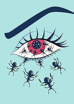 Weird Creepy Red Eye With Crawling Ants by Boriana Giormova