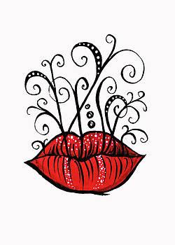 Weird Lips Ink Drawing Tattoo Style by Boriana Giormova