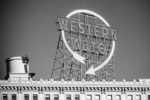 Western Auto Sign Black and White by Steven Bateson