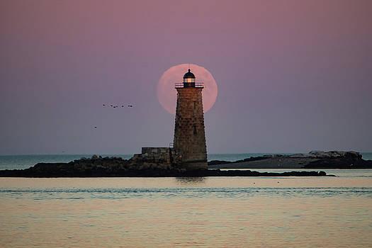 Whaleback at Moonrise - Maine Lighthouse by Jeff Folger