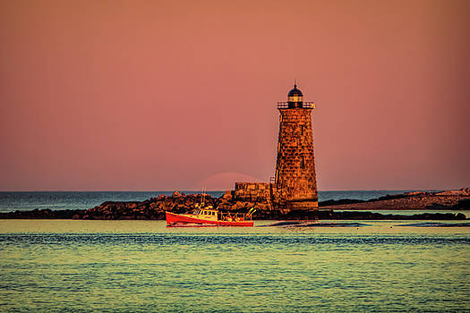 Whaleback Full Moon Maine Lighthouse by Jeff Folger