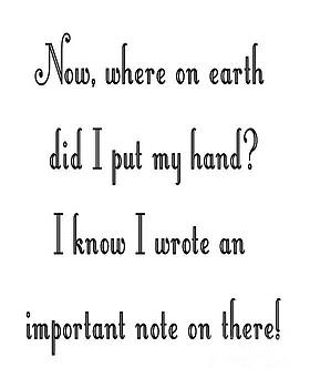 Where on earth did I put my hand by Andee Design
