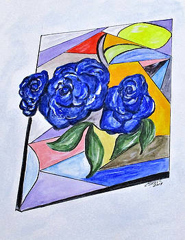 Whimsical Blue Roses by Clyde J Kell