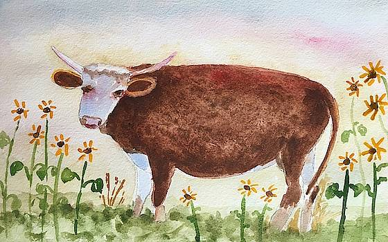 Whimsical Cow With Sunflowers by Marita McVeigh
