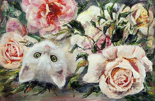 White cat and pink roses by Ryn Shell