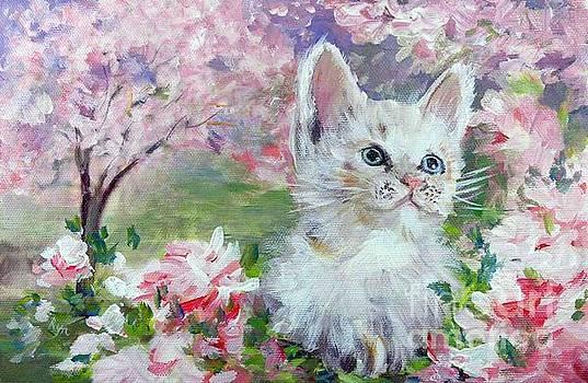 White Cat in the Artist's Garden by Ryn Shell