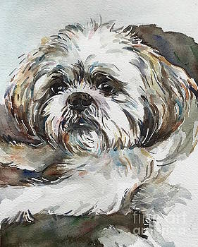 White Dog by Maria's Watercolor