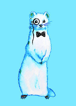White Ferret Hipster With Monocle And Bow Tie / Watercolor Drawing by Boriana Giormova