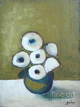 White Poppies in Vase by Vesna Antic