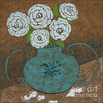 Caroline Street - White Roses in Teal Vase