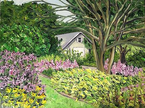 White Shed at Grandmother's Garden by Richard Nowak