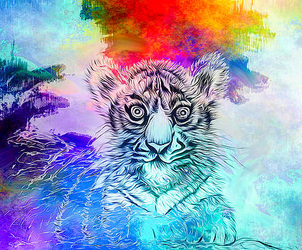 White Tiger Cub Colors by Abstract Angel Artist Stephen K