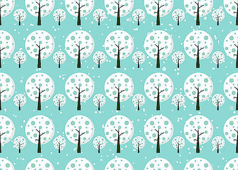 White trees  repeating pattern design by All Free Download