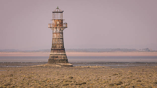 Whiteford Point Lighthouse in Pink by Elliott Coleman