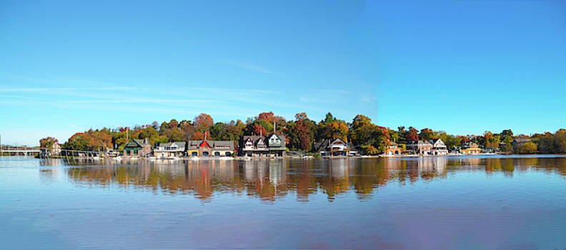 Wide View of Boathouse Row by Bill Cannon