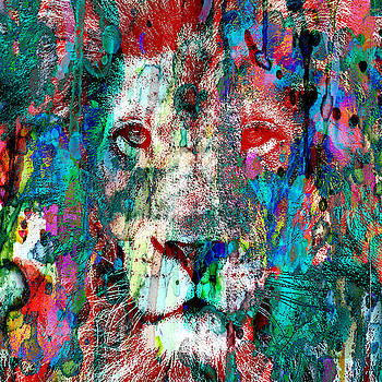 Wild and Colorful 2 - The lion Sleeps 48x48 WALL SIZE CANVAS or PAPER by Robert R Splashy Art Abstract Paintings
