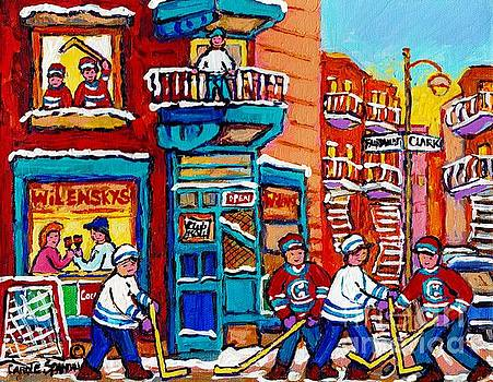 Wilensky Winter Wonderland Fairmount And Clark Street Hockey Scene Montreal Paintings C Spandau      by Carole Spandau
