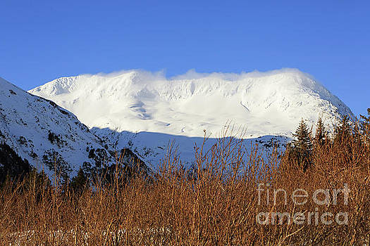 Wind blows over the Kenai Mountains Alaska by Louise Heusinkveld