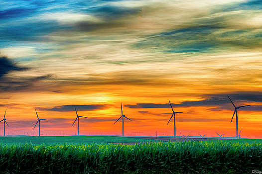 Wind Energy Sunrise by Dee Browning