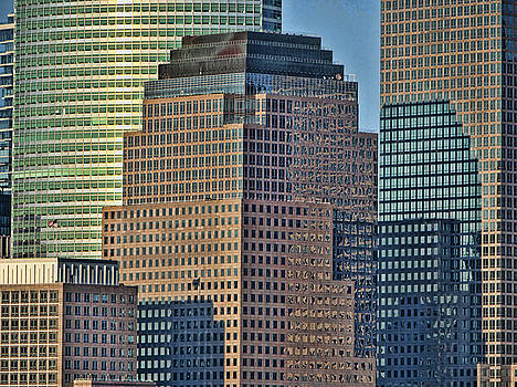 Windows , Lines, Patterns, and Colors - N Y C Skyline by Allen Beatty