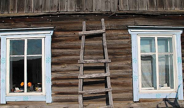 Windows in Siberian house by Inessa Williams