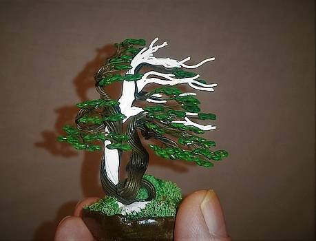 Windswept wire tree sculpture #192 By Rick Skursky by Ricks Tree Art