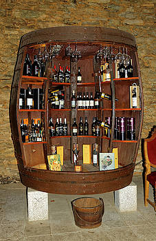 Wine Display in Barrel by Sally Weigand